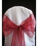 """200 Red Chair Sashes 9"""" x 108"""" Shimmery Organza Wedding Decorations Ties... - $164.99"""