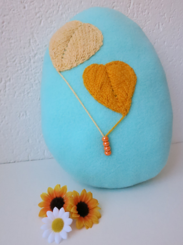 Easter Bunny & Egg Pillow-handmade easter decoration-  stuffed fleece toy