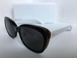 New Elegant Christian DIOR Diorific2N Black Brown White Women's Sunglasses Italy - $349.99