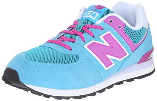 New Balance KL574 Lifestyle Grade Running Shoe (Big Kid), Blue/Pink, 5 M US Big