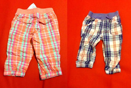 New H&M Girls Ankle Plaid Orange Pink Purple String Tie Banded Pull On Pants 3 4 - $13.99