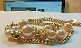 Vintage Jewelry Lot: Lovely Gold Tone Necklace W/Faux Pearls 2016032919 - $8.99