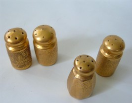 Vintage lot of 4 Gold Texture Porcelain Salt and Pepper Shakers  Japan - $19.79