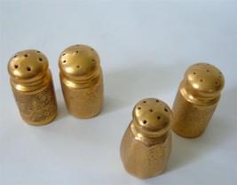 Vintage lot of 4 Gold Texture Porcelain Salt and Pepper Shakers  Japan - $24.70