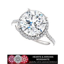 5.00 Carat (DEF) (VVS1) Moissanite Hearts & Arrows Halo Style Ring in 14... - $2,200.00