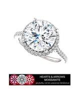 5.00 Carat (DEF) (VVS1) Moissanite Hearts & Arrows Halo Style Ring in 14... - $2,200.00