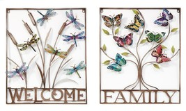 """One 29"""" Square Metal Wall Plaque - Welcome Dragonfly or Family Butterfly Garden - $109.99"""