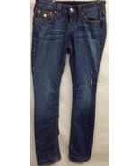 True Religion Womens Size 26 Inches Medium Blue Distressed Straight Leg - $21.29