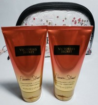 Victoria's Secret Passion Struck Lotion 2 Travel Size VS Sequin Bag Gift Set NWT - $19.24