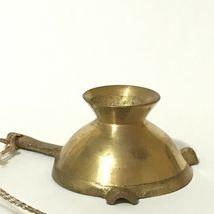 Vintage Miniature Brass Ornament Christmas Mini Ashtray With Handle Gold Patina image 4
