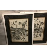 2  SPANISH STYLE  Church Scene  Hand Drawing Unknown Artist Signed Botan... - $98.99