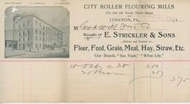 1900 E. Strickler's Sons Billhead Lebanon PA Roller Flouring Mills Flour - $10.00