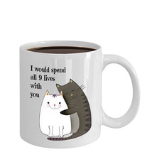 I Would Spend All 9 Lives With You Romantic Wife Girlfriend Gift Cats Co... - $14.80+