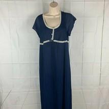 Vintage Women's Medium Navy Blue White Lace Trim Nightgown Lounge - $16.99