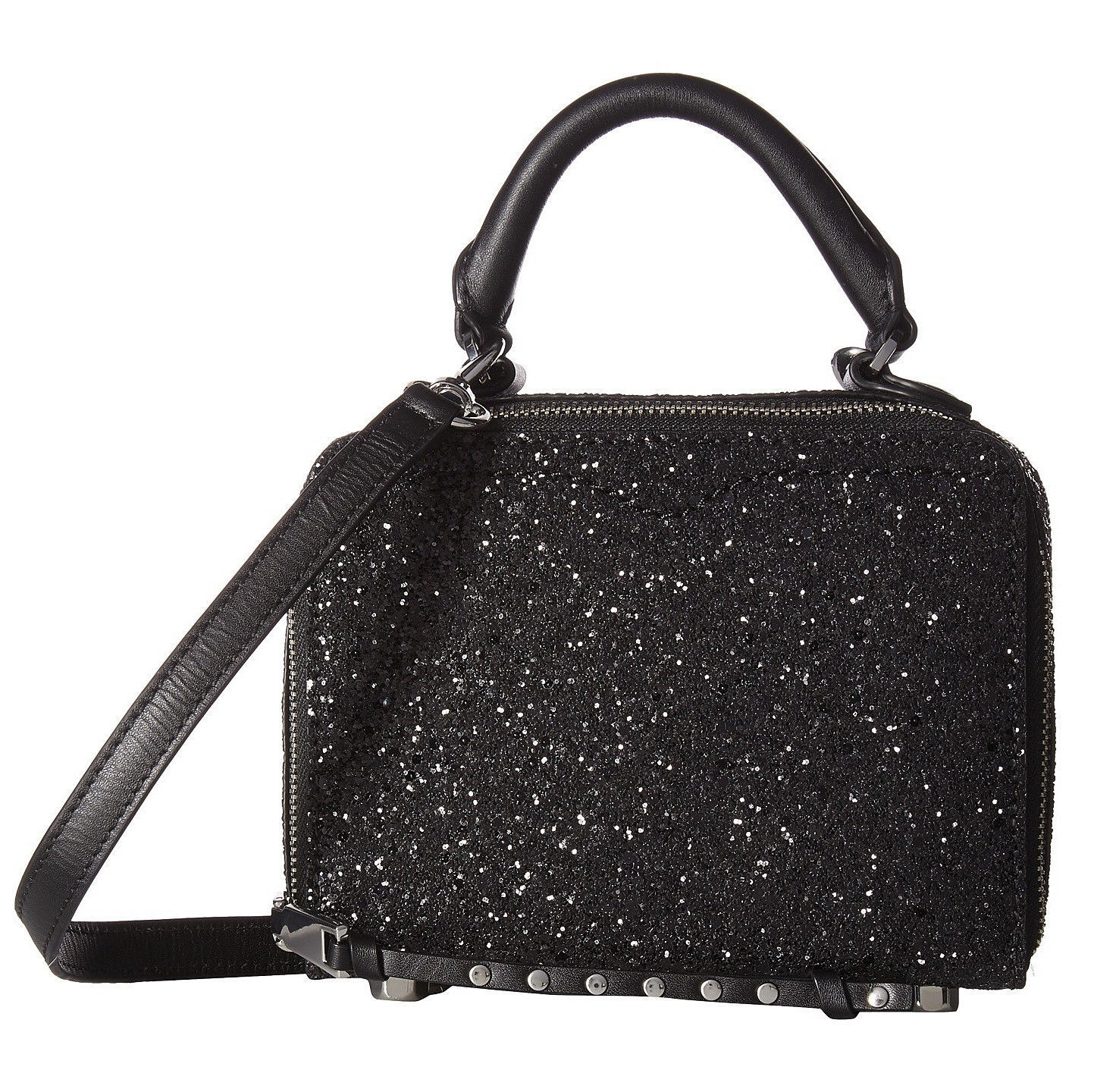 Primary image for Rebecca Minkoff Black Glitter Studded Leather Box Crossbody Bag NWT