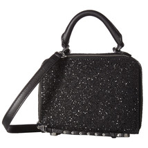 Rebecca Minkoff Black Glitter Studded Leather Box Crossbody Bag NWT - $138.11