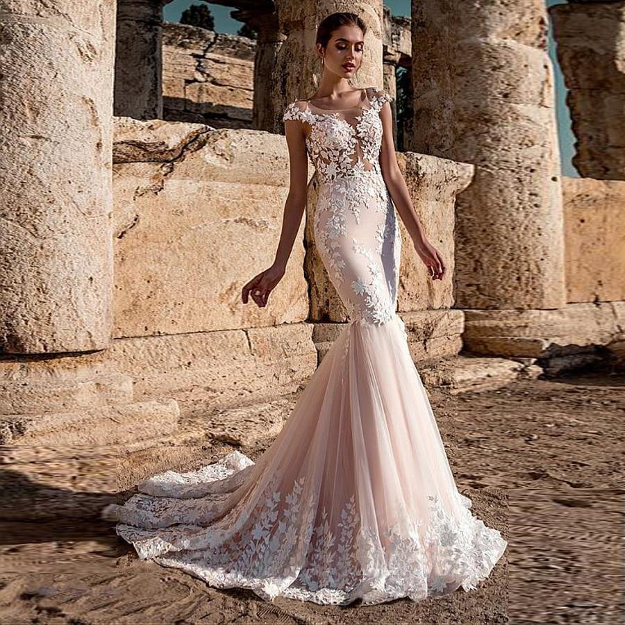 Lle scoop neckline see through bodice mermaid wedding dress 3d lace applique pink mermaid bridal