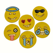 Emoji Coasters 6-Piece Set Yellow Handcrafted Beads w/Bag/Yellow Gold Beeds - $13.95