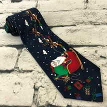 Hallmark Yule Tie Greetings Mens Christmas Tie Santa Clause Reindeer Sea... - $9.89