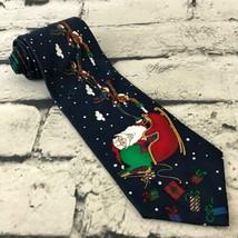 Hallmark Yule Tie Greetings Mens Christmas Tie Santa Clause Reindeer Sea... - $9.89