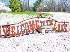 Metal Welcome to the LAKE Sign Wall Entry Gate bz - $124.98