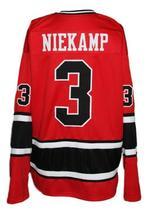 Custom Name # Los Angeles Sharks Retro Hockey Jersey New Red Niekamp #3 Any Size image 2