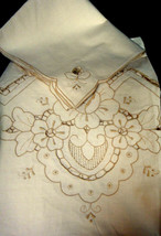 TABLECLOTH & NAPKINS (8) Ecru Embroidered & Cut-Work 72 x 90 Cotton NEW - $49.00