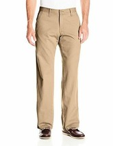 Lee Mens Weekend Chino Straight Fit Flat Front Pant 30x32 Dark Khaki NEW - $28.49