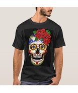 DAY OF THE DEAD SUGAR SKULL AND ROSES T-SHIRT - $15.99+