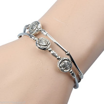 Bracelet Three Roses Hand Chain Bracelet Jewellery Miao Silver Fashion R... - $9.59