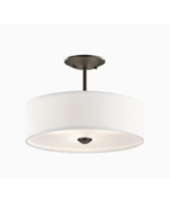Kichler Brushed Nickel Etched Glass Drum Convertible Pendant or Semi-flu... - $104.40