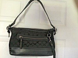 Small Black Signature Coach #9363 Legacy Duffle Tassle Leather/Jacquard Bag - $46.71