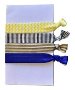 Elastic Hair Tie Ponytail Holder No Crease FOE 4 Pack 'Nautical' - $4.99