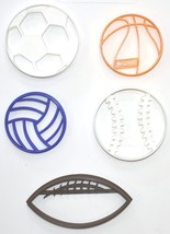 Balls Team Sports Football Basketball Soccer Set Of 5 Cookie Cutters USA PR1079 - $13.99