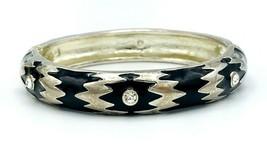 Vintage 80's Silver Tone Black Enamel Rhinestone Hinged Bangle Bracelet - $25.74