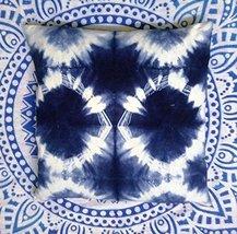 Indigo Dyed Pillow Cover 16x16, Tie Dye Indian Cushions, Decorative Throw Pillow - $12.73