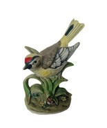 Goldfinch Figurine Gold Finch sculpture Lefton vtg decor gift sculpture floral - $28.98