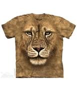 Lion Warrior Large Face Art Hand Dyed Tan T-Shirt Size XXL (2X), NEW UNWORN - $17.41