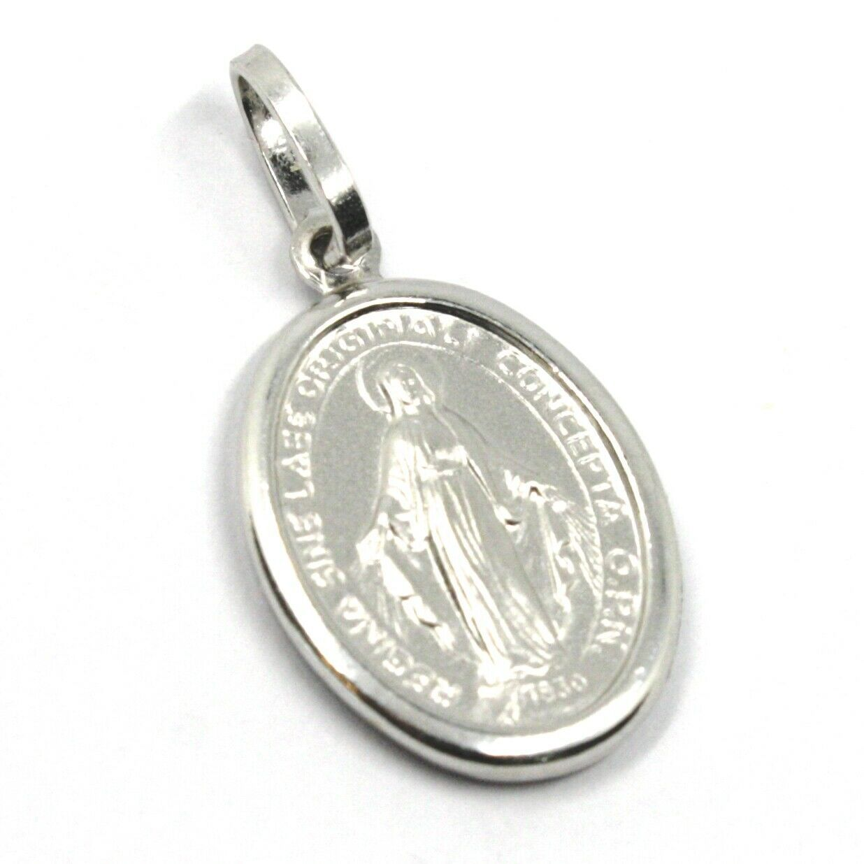 18K WHITE GOLD MIRACULOUS MEDAL VIRGIN MARY MADONNA, 1.6 CM, 0.63 INCHES