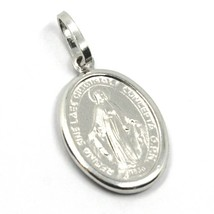 18K WHITE GOLD MIRACULOUS MEDAL VIRGIN MARY MADONNA, 1.6 CM, 0.63 INCHES image 1