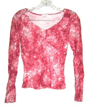 Sz M - Lapis Dark Pink & White variegated Floral Long Sleeve Top - $18.99