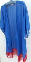 Lularoe Blue Monroe Red Fringe Kimono Coverup New with Tags. Large - $48.00