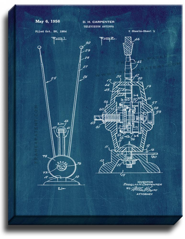 Primary image for Television Antenna Patent Print Midnight Blue on Canvas