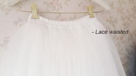 White Lace Tulle Maxi Skirt White Bridal Tulle Skirt A Line Tulle Wedding Skirt image 5