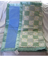 New flannel My Toy Patch Baby Blanket Seafoam Green Blue Quilt - $19.99