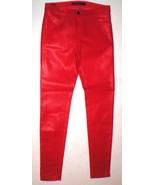 New J Brand Jeans Super Skinny Womens Coated Leather Adra True Red Mid R... - $127.20