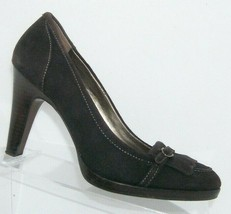 Ann Taylor LOFT brown suede round toe kiltie stacked platform heels 7M - $37.04