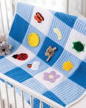 Z431 Crochet PATTERN ONLY Playtime Baby Blanket Afghan Throw Pattern - $8.50