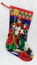 "Christmas Stocking Wool Needlepoint Victorian Carolers Red 15.5"" - $25.73"