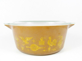 Pyrex Americana Mid Century Lidded Large Casserole Dish  Brown Gold 2 1/... - $24.74